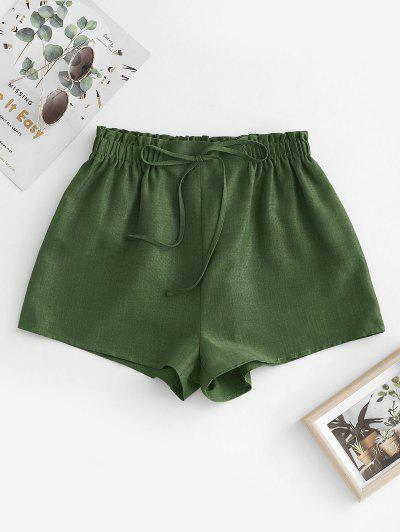 ZAFUL Pull On Paperbag Shorts - Deep Green L