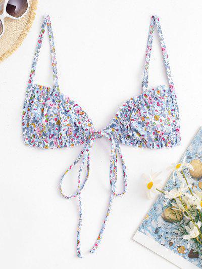 ZAFUL Ditsy Print Ruffle Tie Front Bikini Top - Multi S
