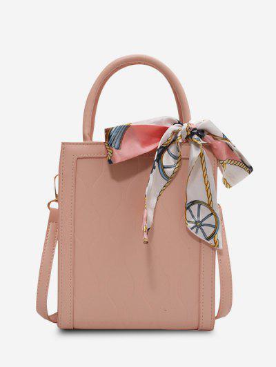 Boxy Scarf-Tied Top Handle Crossbody Bag - Light Pink