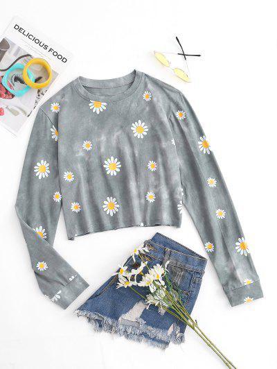 Flower Tie Dye Print Cropped Sweatshirt - Light Gray M