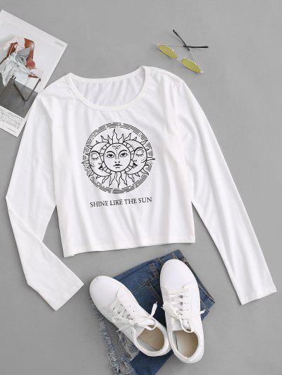 Celestial Sun Moon Print Cropped T-shirt