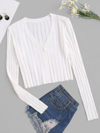 Button Up Ribbed Cropped Cardigan - White