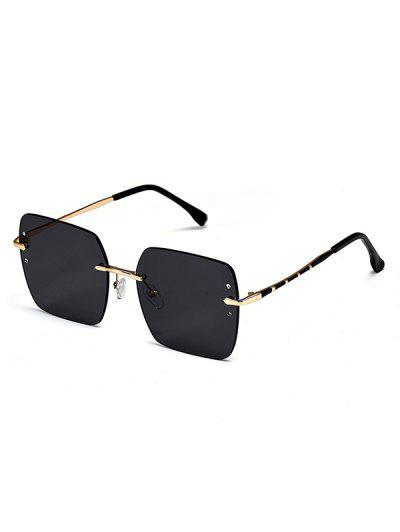 Randlose Quadratische Sonnenbrille Aus Metall - Schwarz