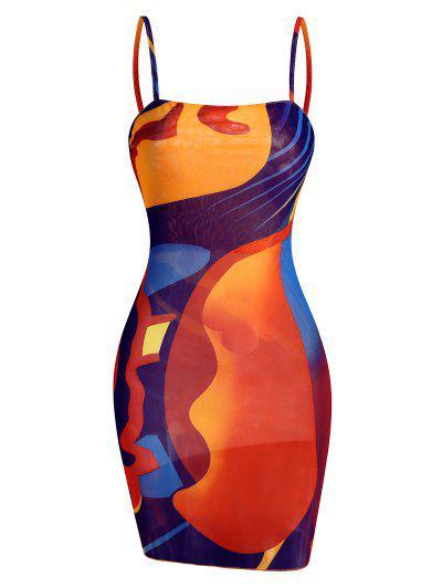 Abstract Print Sheer Mesh Cami Slinky Dress - Red S