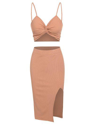 ZAFUL Ribbed Twist Cami Top And Split Skirt Set - Dark Orange S