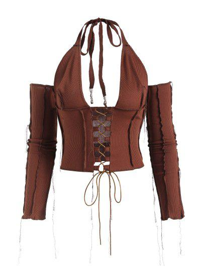 Ribbed Lace Up Overlock Seams Detached Sleeve Top - Coffee S