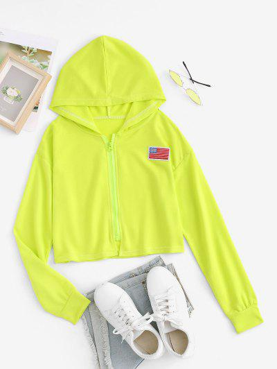Cropped American Flag Patch Zip Up Hoodie - Green S