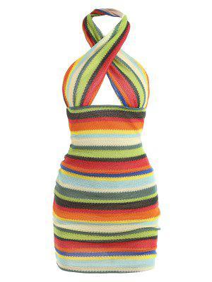zaful Rainbow Stripes Criss Cross Halter Slinky Dress