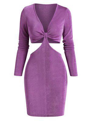 zaful Cut Out Twisted Tie Jersey Slinky Dress
