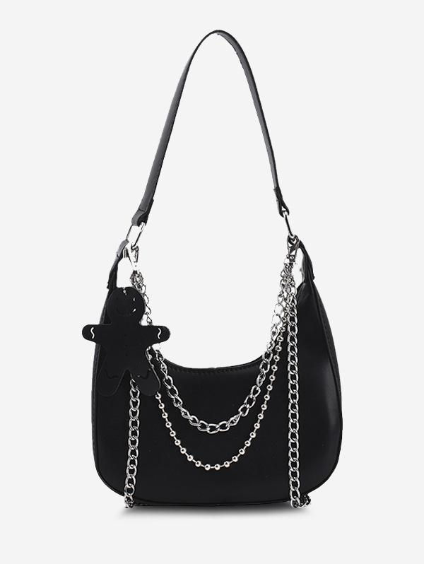 Double Chain Embellished Shoulder Bag With Pendant