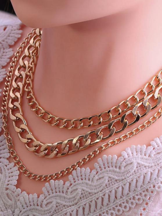 Minimalistische Triple Layer Chunky Chain Halskette - Golden
