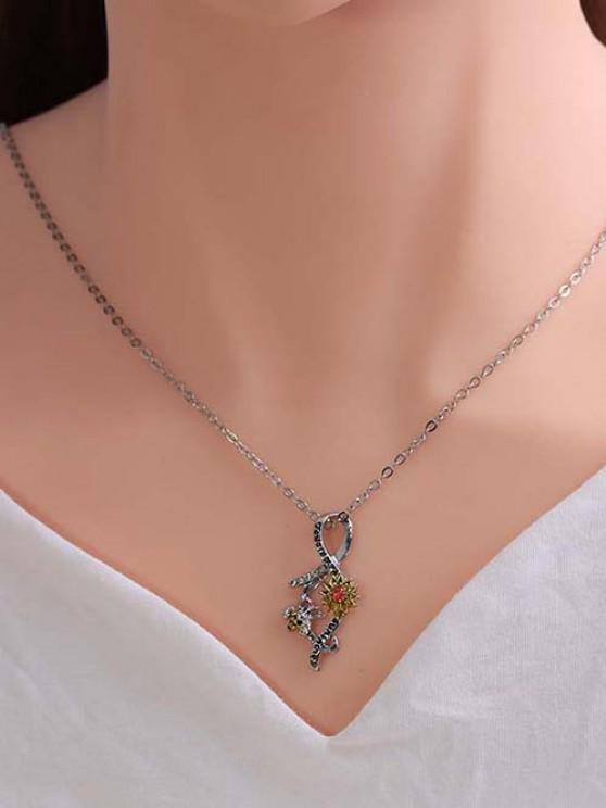 Rhinestone Embellished Sunflower Bee Engraved Pendant Necklace - متعددة-A