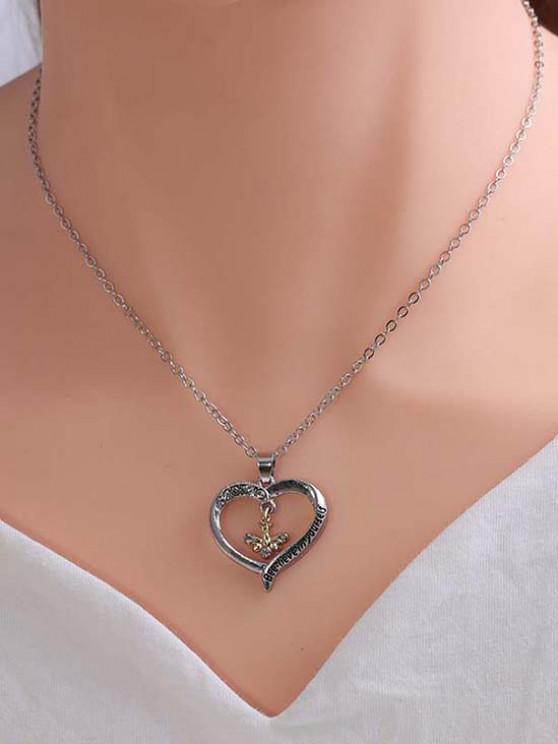 Rhinestone Embellished Bee Heart Engraved Pendant Necklace - متعددة-A