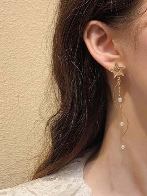 trendy Star Faux Pearl Chain Linear Stud Dangle Earrings - GOLDEN
