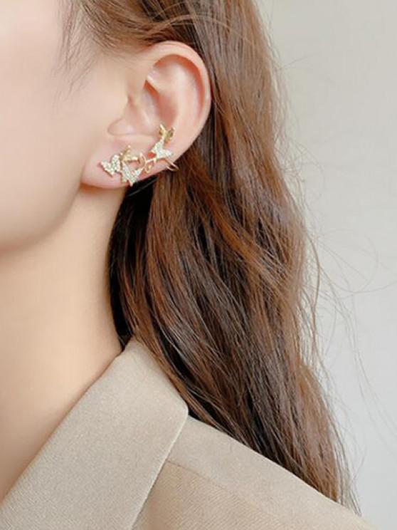 Pendientes Asimétricos de Diamantes de Imitación de Mariposa - dorado