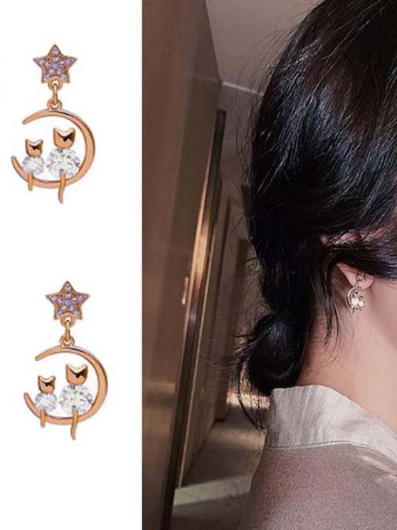 Rhinestone Embellished Star Moon Cats Stud Drop Earrings - ذهبي