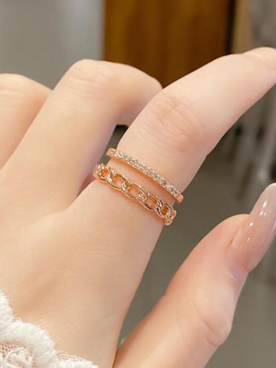 Doppelschicht Kette Strass Manschette Fingerring - Golden