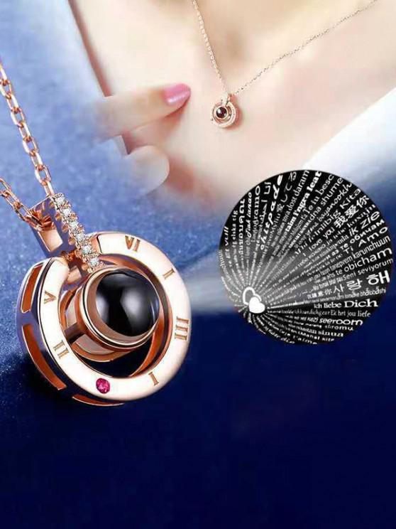 100 Languages I Love You Rhinestone Ring Pendant Projection Necklace - ذهبي