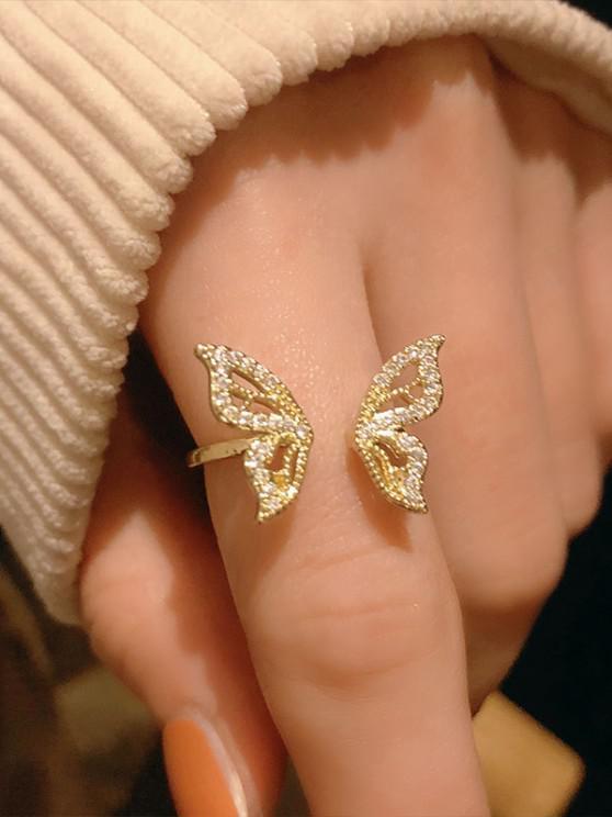 Strass Verschönert Schmetterling Verstellbarer Manschette Ring - Golden Der Größe veränderbar