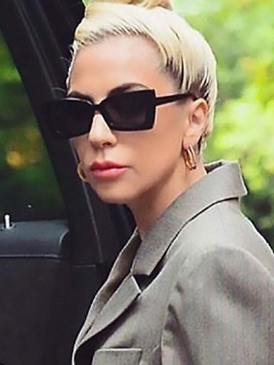 hot Minimalistic Retro Style Rectangle Frame Sunglasses - BLACK