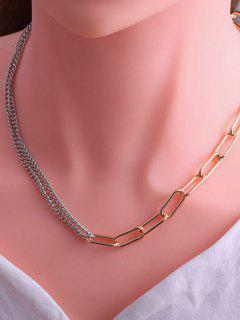 Minimalistic Spliced Chain Hip Hop Style Necklace - Multi-a