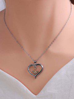 Rhinestone Embellished Bee Heart Engraved Pendant Necklace - Multi-a