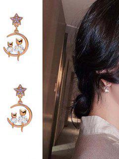 Rhinestone Embellished Star Moon Cats Stud Drop Earrings - Golden
