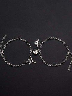 A Pair Heart Magnet Lock And Key Charm Couple Bracelet - Silver
