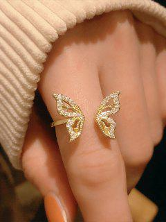 Rhinestone Embellished Butterfly Adjustable Cuff Ring - Golden Resizable
