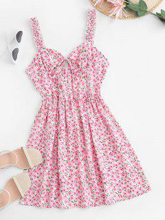 Peach Blossom Floral Frilled Sundress - Light Pink S
