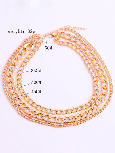 Minimalistische Triple Layer Chunky Chain Halskette - Golden  Mobile