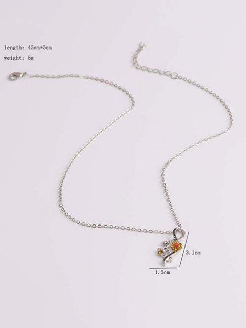 Strass Verzierte Sonnenblume Biene Gravierte Anhänger Halskette - Multi-A  Mobile