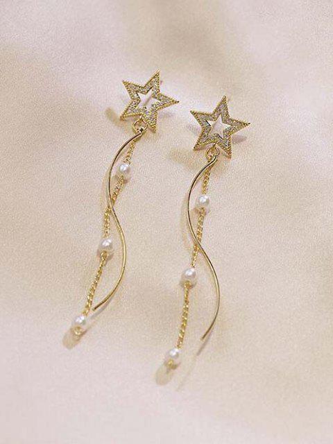 Baumelnde Sterne Künstliche Perle Kette Linear Ohrstecker - Golden  Mobile
