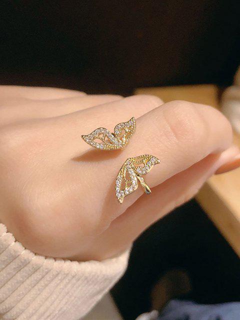 Bague Manchette Réglable Ornée Papillon en Strass - d'or Redimensionnable Mobile