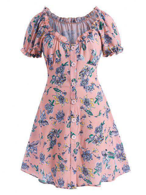 ZAFUL Vestido Floral Talla Extra Abotonado con Volantes - Rosa claro L Mobile