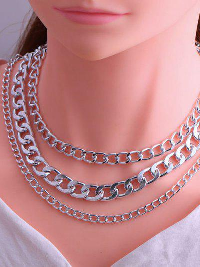 Minimalistic Triple Layer Chunky Chain Necklace - Silver