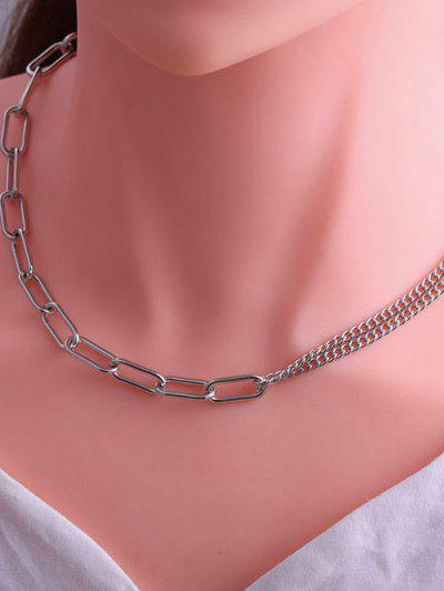 Minimalistic Spliced Chain Hip Hop Style Necklace - Silver