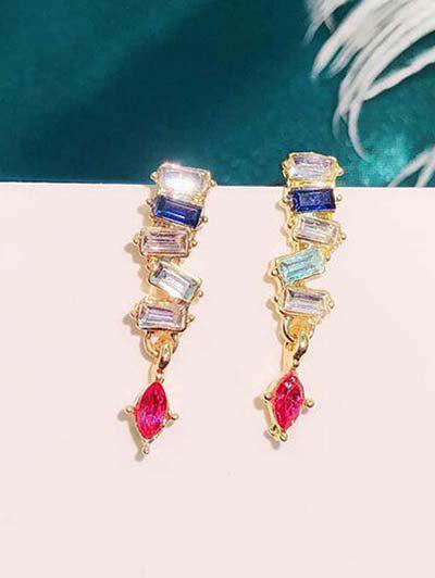 Colorful Zircon Embellished Stud Drop Earrings - Multi-a