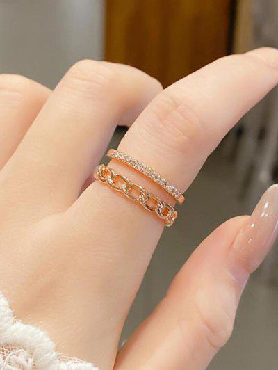 Double Layer Chain Rhinestone Cuff Finger Ring - Golden