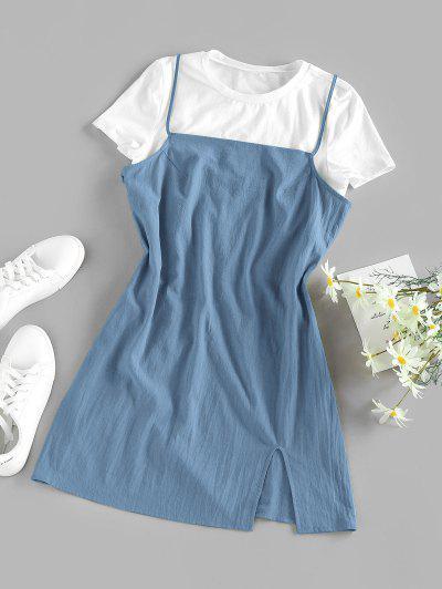 ZAFUL Slit Cami Mini Dress With T-shirt Set - Blue Xl