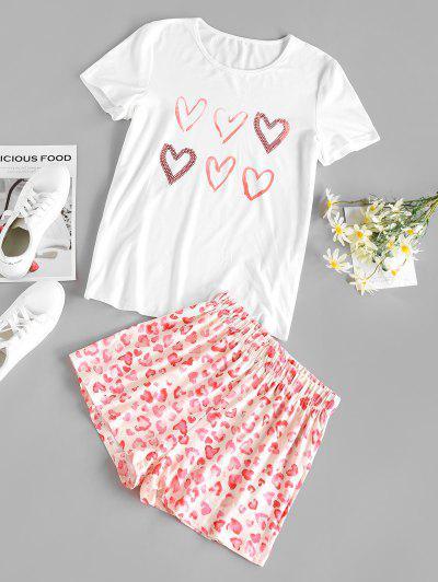 Heart Leopard Lounge Shorts Set - White S