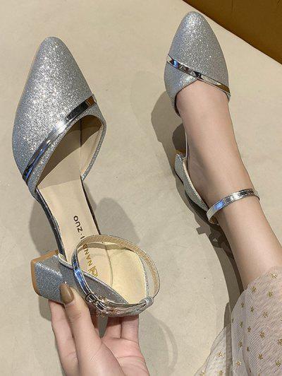 Glitter Ankle Strap Chunky Heel Sandals - Silver Eu 37