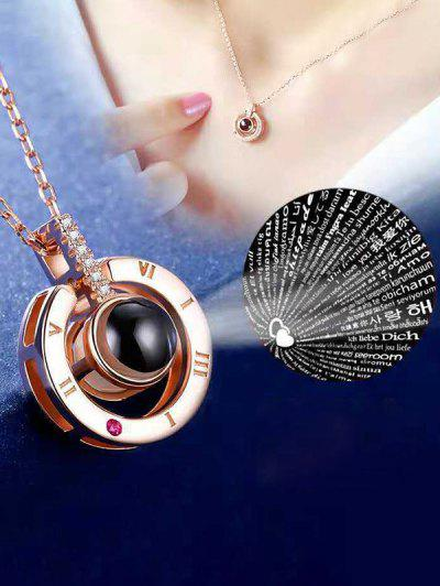 100 Languages I Love You Rhinestone Ring Pendant Projection Necklace - Golden