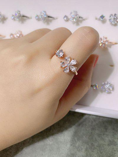 Zircon Embellished Flower Adjustable Cuff Ring - Golden Resizable