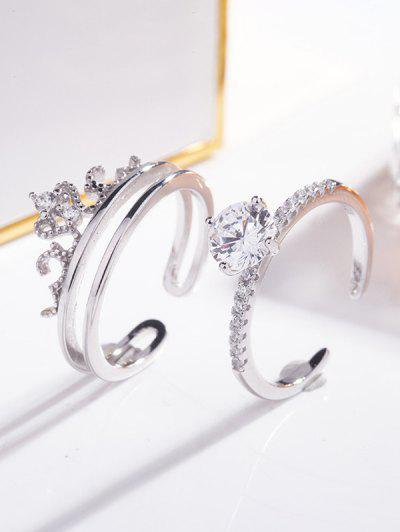 2Pcs Rhinestone Embellished Crown Cuff Ring - Silver