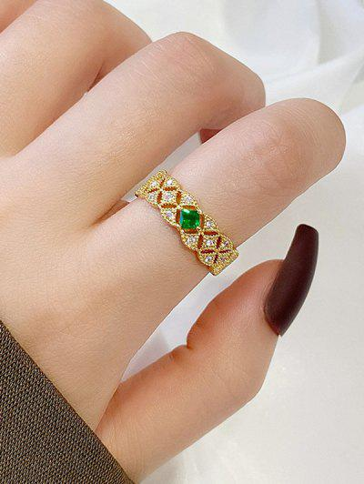 Hollow-Out Zircon Adjustable Cuff Ring - Golden Resizable