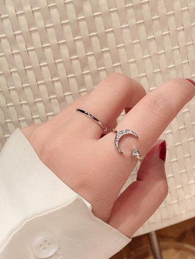 2Pcs Stern Mond Strass Manschette Fingerring - Silber Änderbar