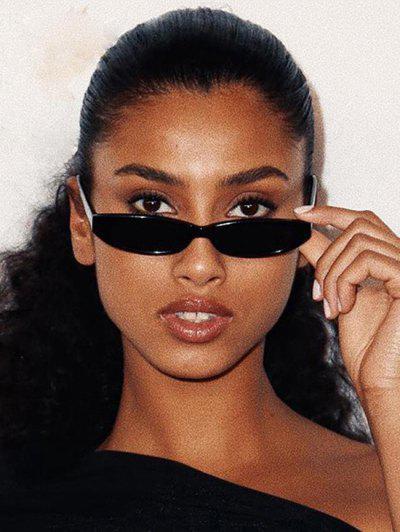 Retro Slim Oval Frame Decorative Sunglasses - Black