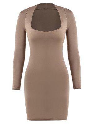 zaful Square Collar Jersey Slinky Long Sleeve Dress