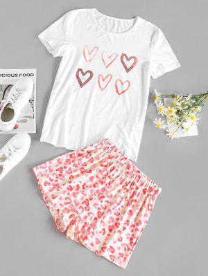zaful Heart Leopard Lounge Shorts Set